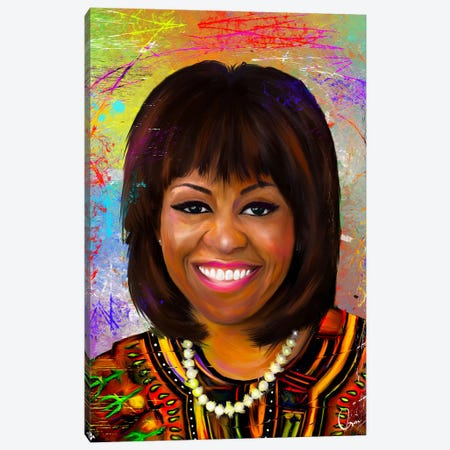 Michelle Obama Canvas Print #CXE18} by Crixtover Edwin Canvas Art Print