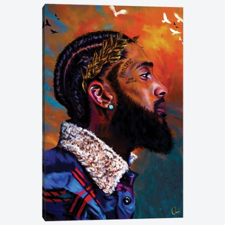 Nipsey Hussle 3-Piece Canvas #CXE30} by Crixtover Edwin Canvas Print