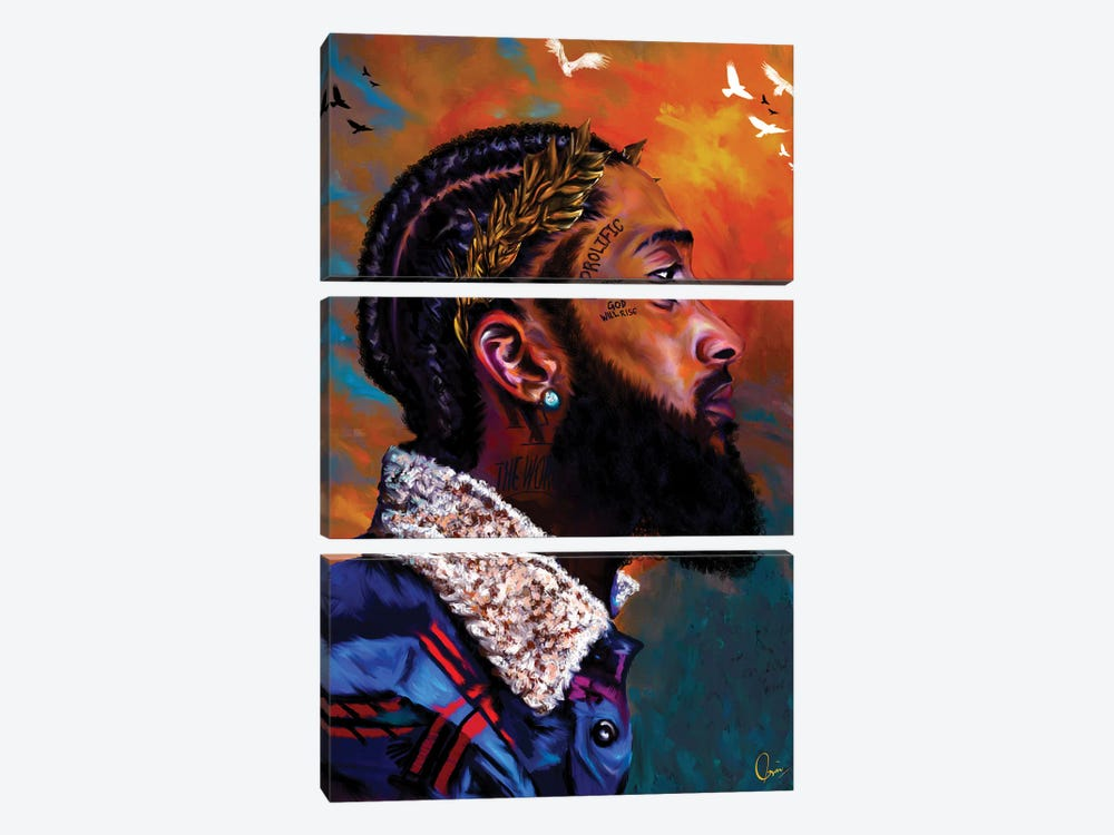 Nipsey Hussle 3-piece Canvas Print