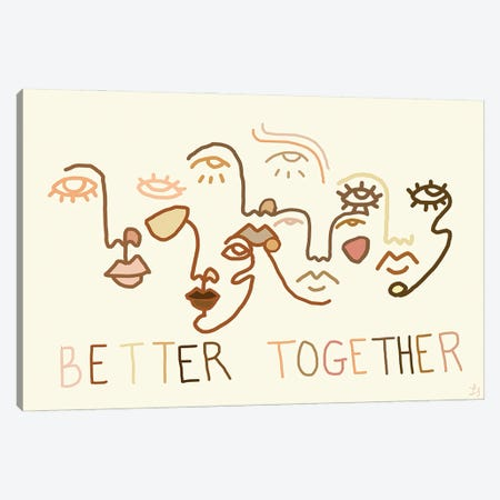 Better Together Neutral Canvas Print #CYE20} by Chromoeye Canvas Print