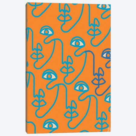 Multi-Face Tangerine Canvas Print #CYE30} by Chromoeye Canvas Art
