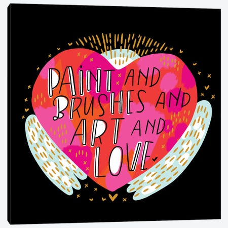 Paint And Brushes And Art And Love 3-Piece Canvas #CYF63} by Cynthia Frenette Canvas Art