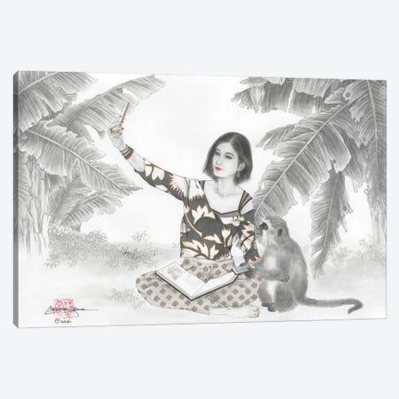 Monkey BFF Canvas Print #CYG32} by Caroline R. Young Canvas Artwork