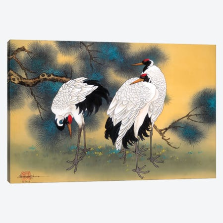 Morning Cranes Canvas Print #CYG34} by Caroline R. Young Canvas Print