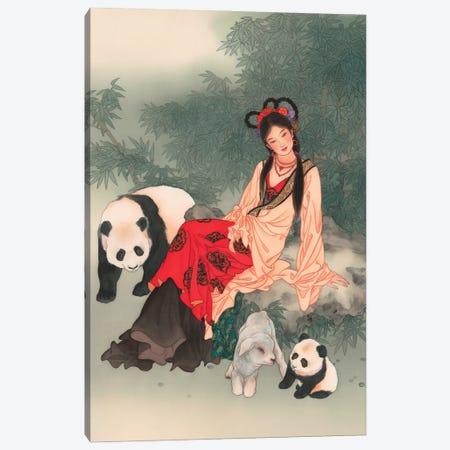 Pandas Of Wolong Canvas Print #CYG37} by Caroline R. Young Art Print