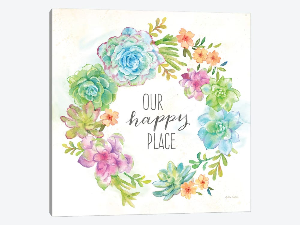 Sweet Succulents Wreath Happy Place by Cynthia Coulter 1-piece Canvas Art
