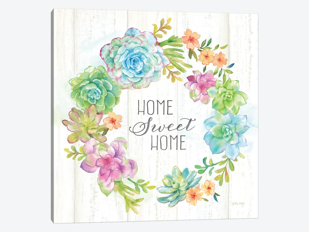 Sweet Succulents Wreath Home by Cynthia Coulter 1-piece Canvas Print