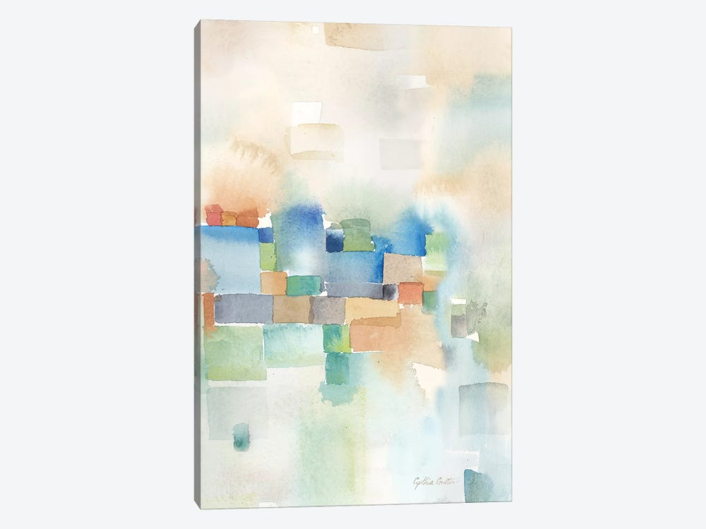 Teal Abstract Panel III by Cynthia Coulter 1-piece Canvas Art