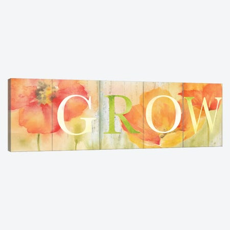 Watercolor Poppy Meadow Bloom Sign Canvas Print #CYN115} by Cynthia Coulter Canvas Artwork