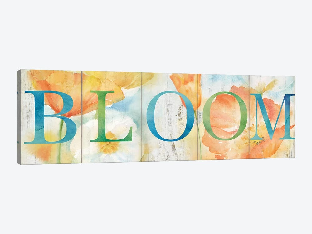 Watercolor Poppy Meadow Grow Sign by Cynthia Coulter 1-piece Canvas Art