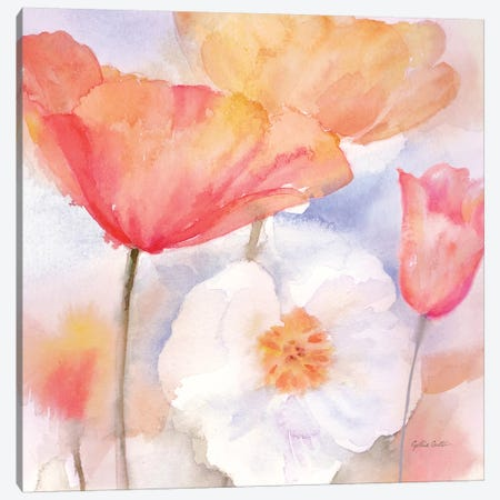 Watercolor Poppy Meadow Pastel I Canvas Print #CYN117} by Cynthia Coulter Canvas Wall Art
