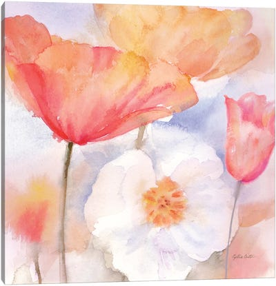 Watercolor Poppy Meadow Pastel I Canvas Art Print