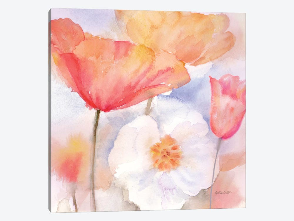Watercolor Poppy Meadow Pastel I by Cynthia Coulter 1-piece Canvas Art Print