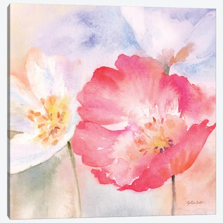 Watercolor Poppy Meadow Pastel II 3-Piece Canvas #CYN118} by Cynthia Coulter Canvas Print