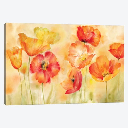 Watercolor Poppy Meadow Spice Landscape Canvas Print #CYN119} by Cynthia Coulter Canvas Art Print