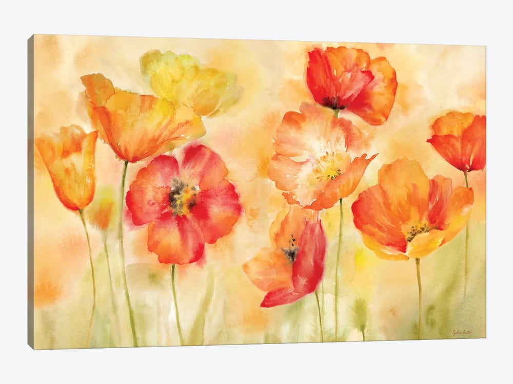 Watercolor Poppy Meadow Spice Landscape by Cynthia Coulter 1-piece Canvas Print