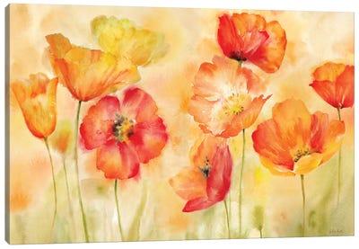 Watercolor Poppy Meadow Spice Landscape Canvas Art Print