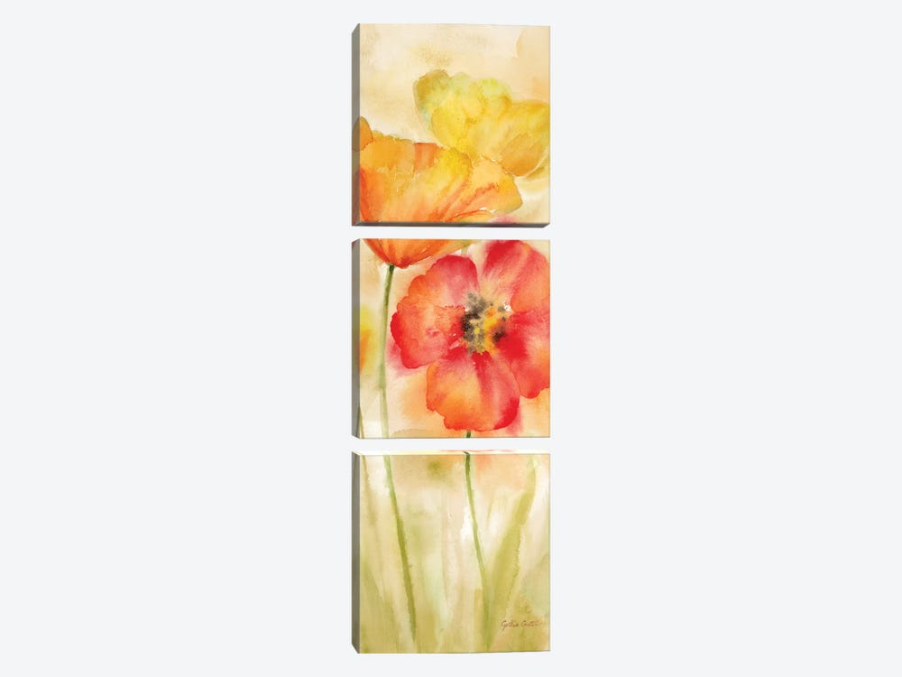Watercolor Poppy Meadow Spice Panel I by Cynthia Coulter 3-piece Art Print