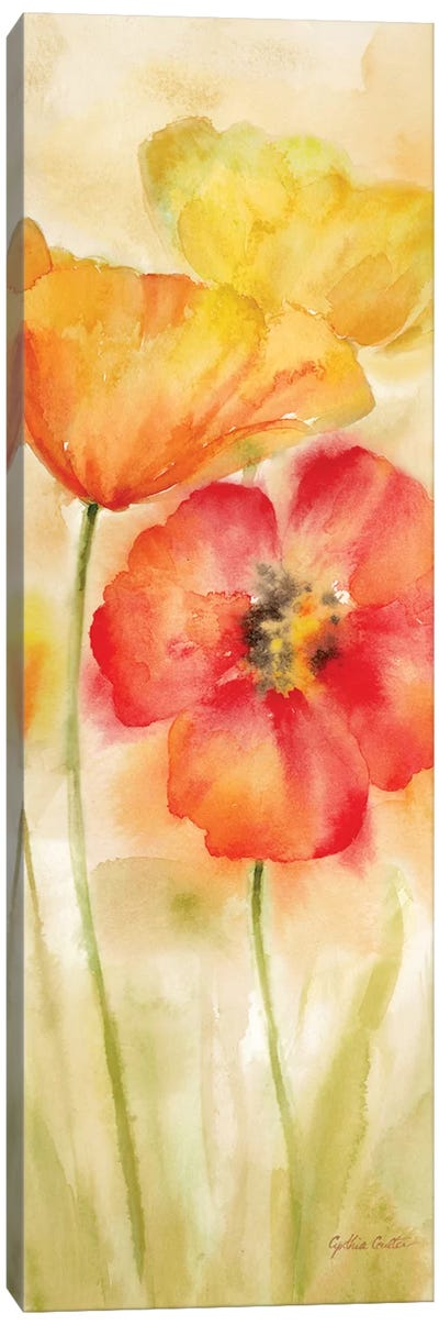 Watercolor Poppy Meadow Spice Panel I Canvas Art Print