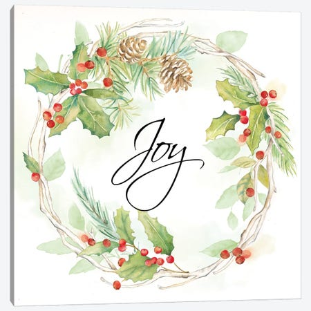 Holiday Wreath Joy Canvas Print #CYN128} by Cynthia Coulter Canvas Art