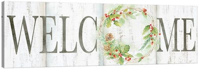 Holiday Wreath Welcome Sign Canvas Art Print