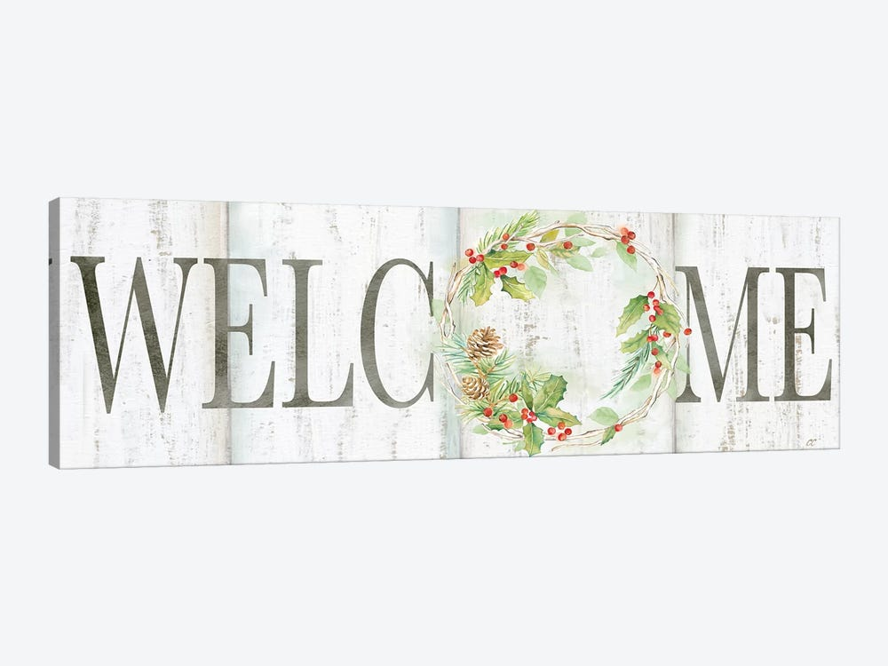 Holiday Wreath Welcome Sign by Cynthia Coulter 1-piece Canvas Artwork