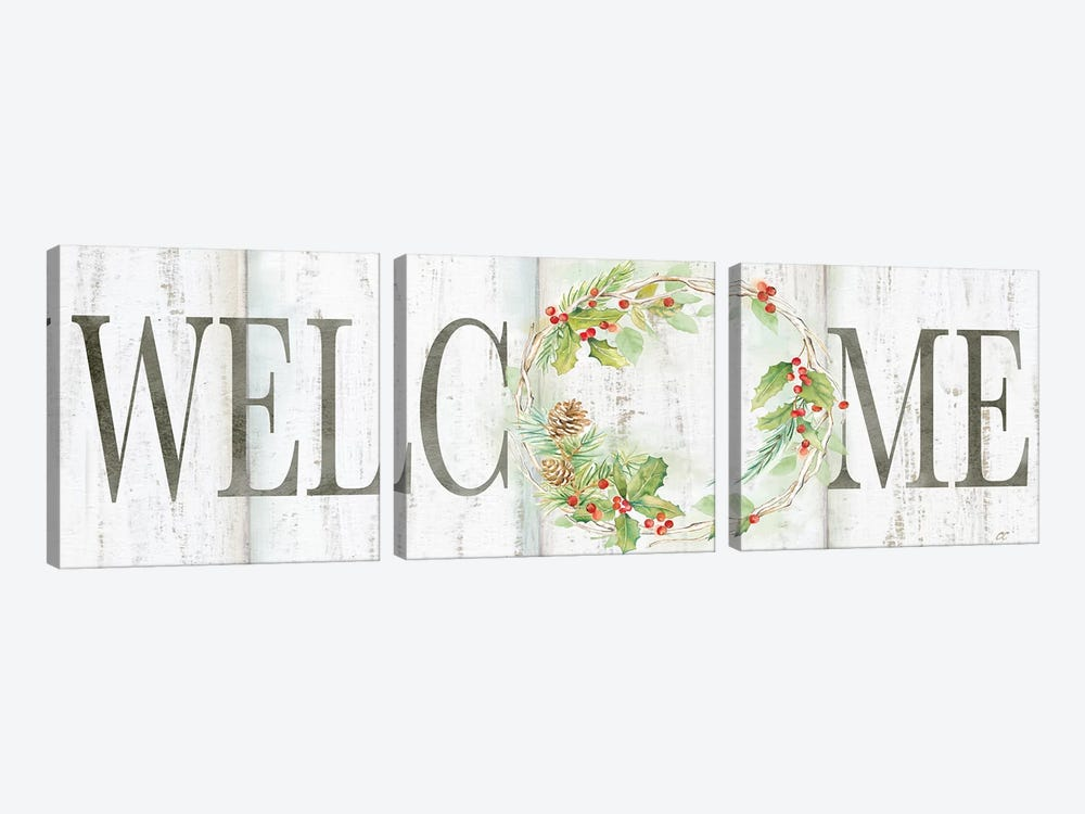 Holiday Wreath Welcome Sign by Cynthia Coulter 3-piece Canvas Wall Art