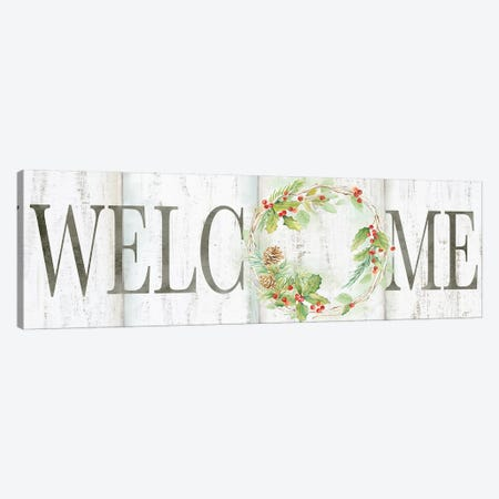 Holiday Wreath Welcome Sign 3-Piece Canvas #CYN129} by Cynthia Coulter Canvas Wall Art