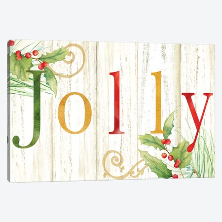 Jolly Whitewash Wood Sign Canvas Print #CYN132} by Cynthia Coulter Canvas Art Print