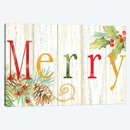 Merry Whitewash Wood sign Canvas Print #CYN136} by Cynthia Coulter Canvas Wall Art