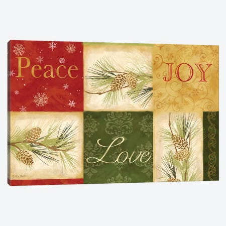 Peace Love Joy Pinecones Canvas Print #CYN137} by Cynthia Coulter Canvas Artwork