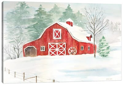 Winter Farmhouse Canvas Art Print