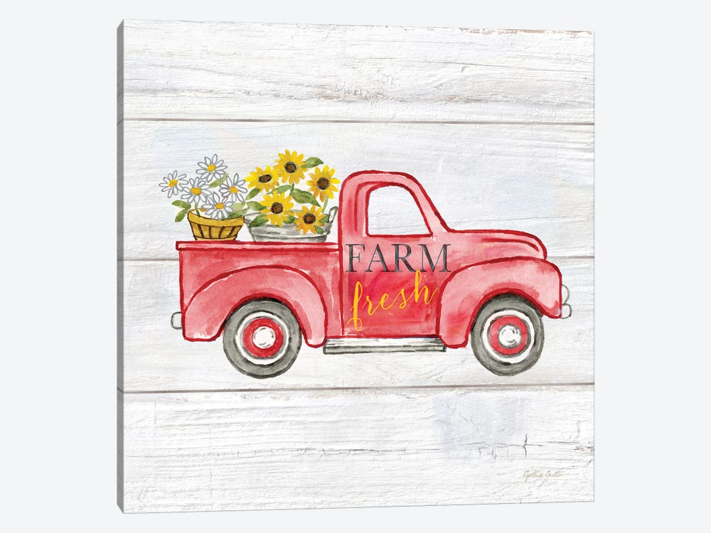Farmhouse Stamp Red Truck by Cynthia Coulter 1-piece Canvas Wall Art