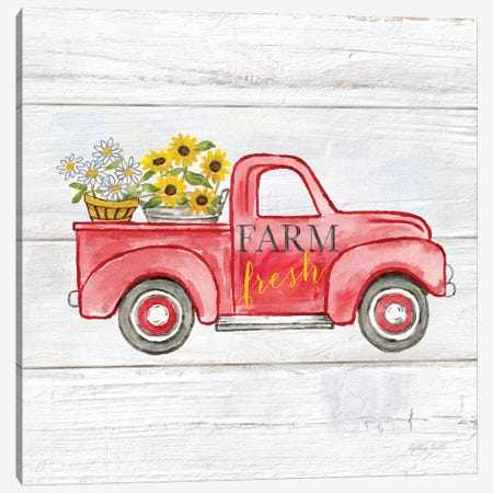 Farmhouse Stamp Red Truck Canvas Print #CYN156} by Cynthia Coulter Canvas Artwork