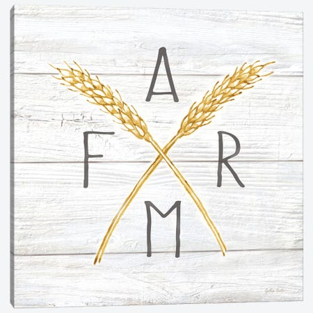 Farmhouse Stamp Wheat Canvas Print #CYN157} by Cynthia Coulter Canvas Artwork