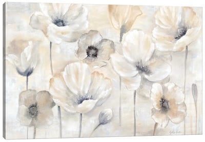 Gray Poppy Garden Landscape Canvas Art Print