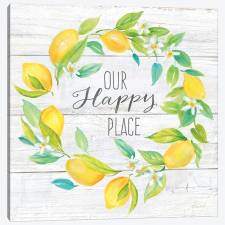 Our Happy Place Lemon Wreath Canvas Print #CYN161} by Cynthia Coulter Canvas Artwork