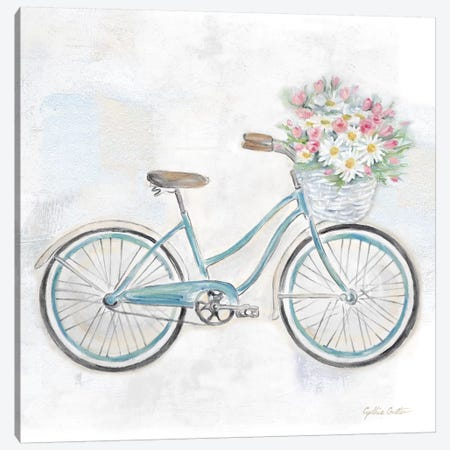 Vintage Bike With Flower Basket I Canvas Print #CYN163} by Cynthia Coulter Canvas Art