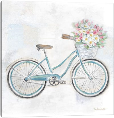 Vintage Bike With Flower Basket I Canvas Art Print