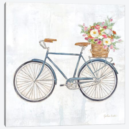 Vintage Bike With Flower Basket II 3-Piece Canvas #CYN164} by Cynthia Coulter Art Print