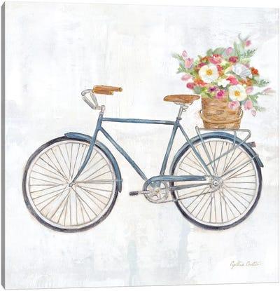 Vintage Bike With Flower Basket II Canvas Art Print