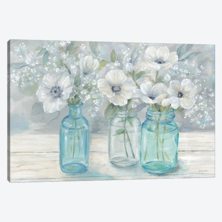 Vintage Jar Bouquet Landscape Canvas Print #CYN167} by Cynthia Coulter Canvas Art Print