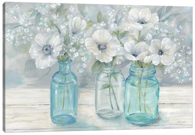 Vintage Jar Bouquet Landscape Canvas Art Print