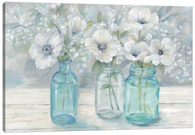 Vintage Jar Bouquet Landscape Canvas Art Print