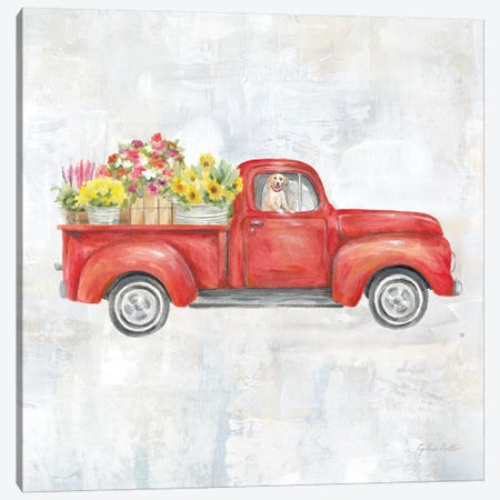 Vintage Red Truck Canvas Print #CYN168} by Cynthia Coulter Canvas Art