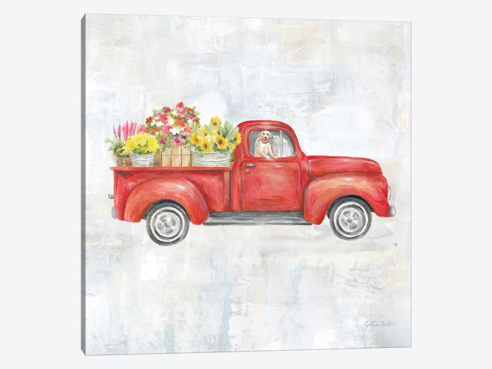Vintage Red Truck by Cynthia Coulter 1-piece Canvas Art Print