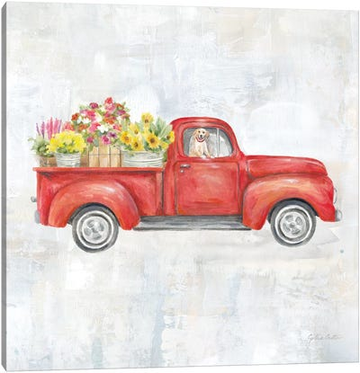 Vintage Red Truck Canvas Art Print