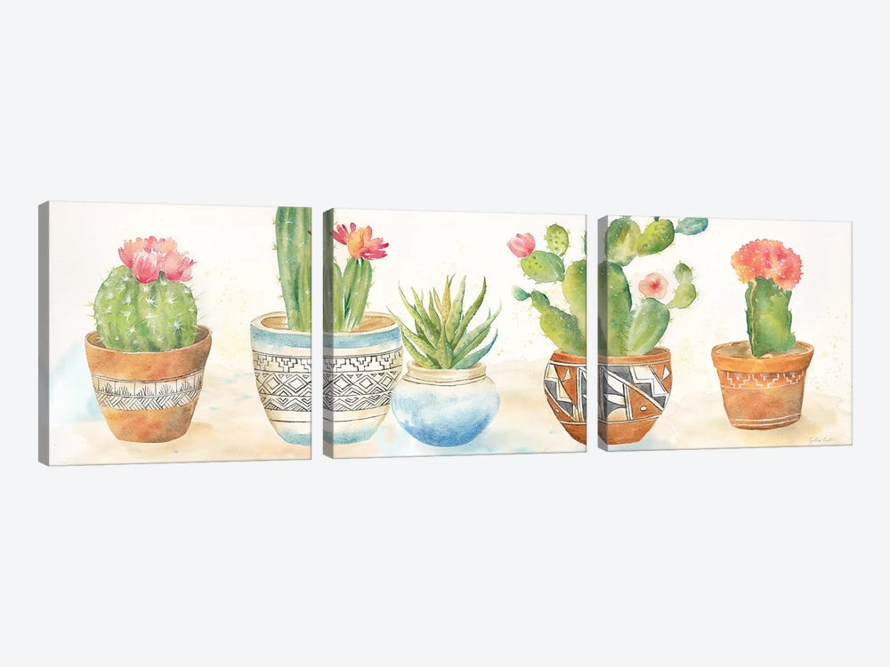 Cactus Pots I by Cynthia Coulter 3-piece Canvas Art