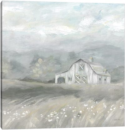 Country Meadow Farmhouse Neutral Canvas Art Print