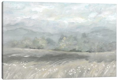 Country Meadow Landscape Neutral Canvas Art Print